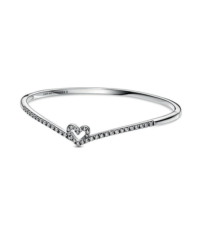 Pandora Sparkling Wishbone Heart bangle 599297C01