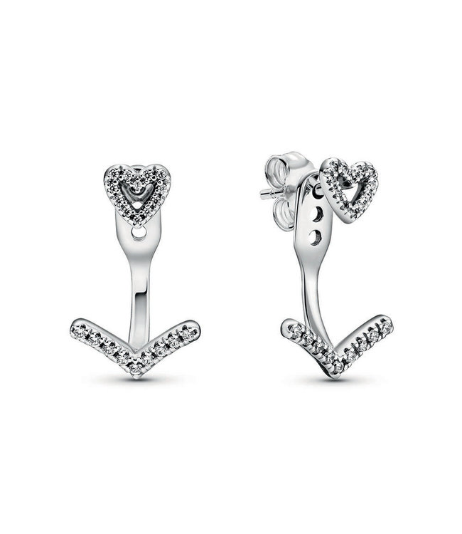 Pandora Sparkling Wishbone Heart stud earrings 299280C01