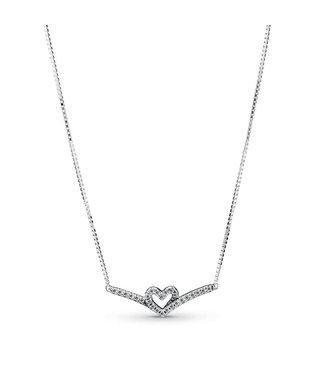 Pandora Sparkling Wishbone Heart collier 399273C01-45