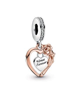 Pandora Heart & Rose Flower dangle 789290C01