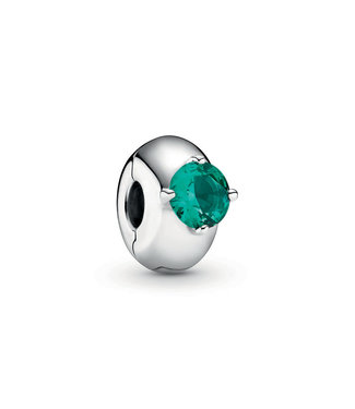 Pandora Green Round Solitaire fixed clips 799204C03