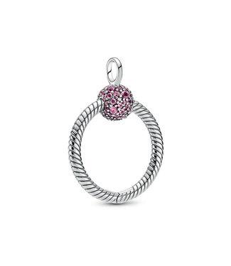 Pandora Pavé O pendant Small Pink 399097C02