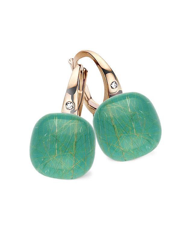 Bigli oorbellen Mini Sweety Smaragd met gouddraad 20O42Rrutsmermp