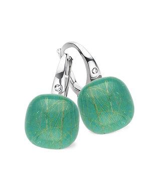 Bigli oorbellen Mini Sweety - Smaragd met gouddraad 20O42Wrutsmermp