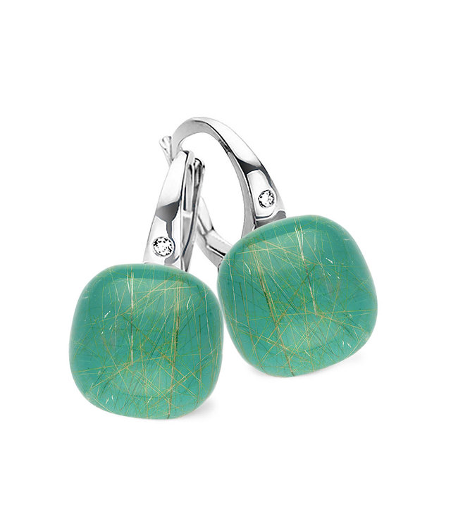Bigli oorbellen Mini Sweety Smaragd met gouddraad 20O42Wrutsmermp