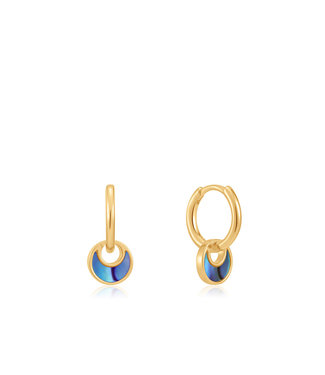 Ania Haie Turning Tides - Tidal Abalone Crescent huggie hoops gold E027-06G