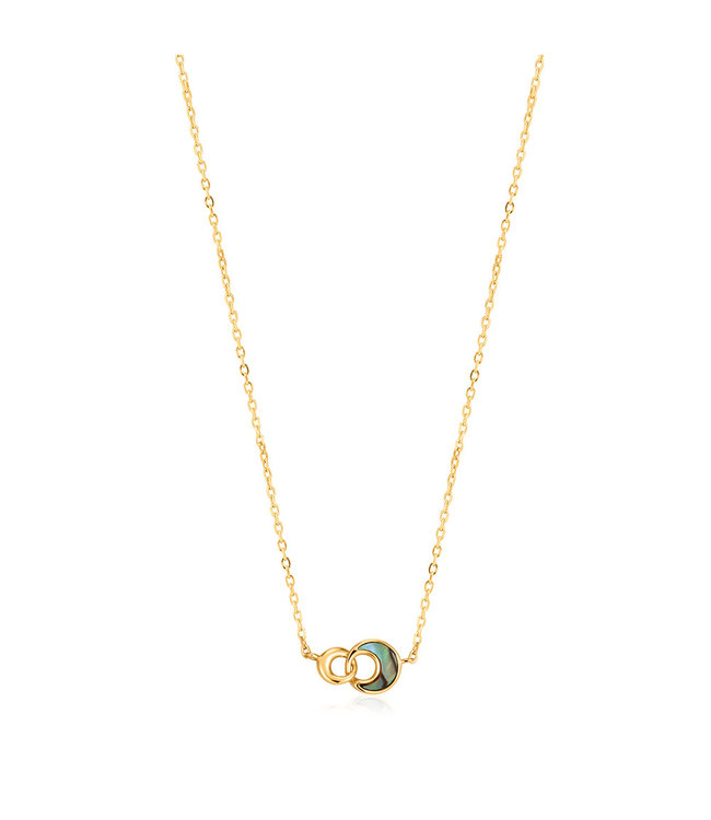 Ania Haie Turning Tides - Tidal Abalone Crescent link necklace gold N027-03G