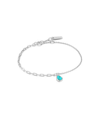 Ania Haie Turning Tides - Tidal Turquoise mixed link bracelet silver B027-02H
