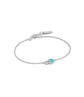 Ania Haie Turning Tides - Tidal Turquoise Crescent link bracelet silver B027-03H