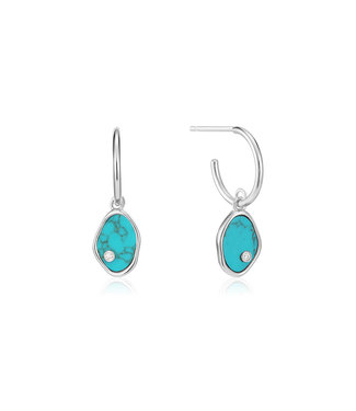 Ania Haie Turning Tides - Tidal Turquoise mini hoop earrings silver E027-01H