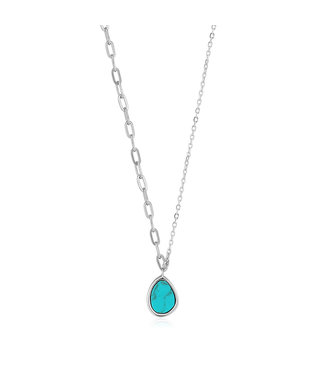 Ania Haie Turning Tides - Tidal Turquoise mixed link necklace silver N027-02H