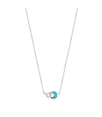 Ania Haie Turning Tides - Tidal Turquoise Crescent link necklace silver N027-03H