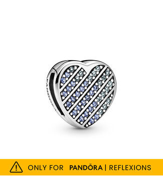 Pandora Reflexions, Blue Pavé Heart fixed clips Limited Edition 799346C01