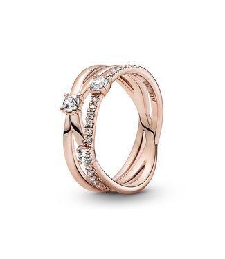 Pandora Sparkle Triple Band ring rose 189400C01