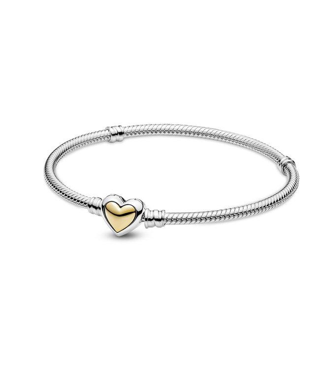 Pandora Domed Golden Heart clasp bracelet 599380C00