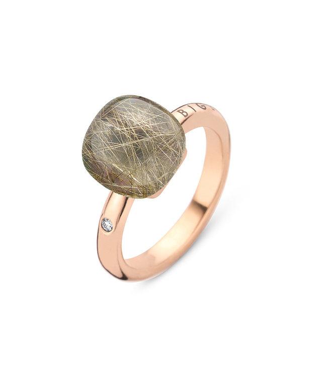 Bigli ring Mini Sweety - Rutielkwarts met grijze parelmoer 20R88RRUTMPGR