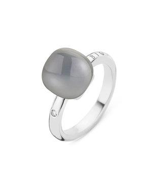 Bigli ring Mini Sweety Milky Quartz with Onyx 20R88Wqlaonyx