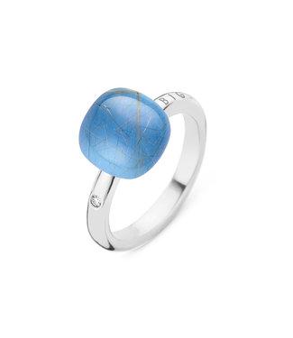 Bigli ring Mini Sweety - Rutielkwarts met blauwe agaat en parelmoer 20R88Wrutagblump