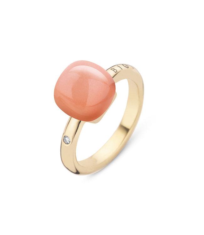 Bigli ring Mini Sweety - Oranje Adularia met parelmoer 20R88YADORMP