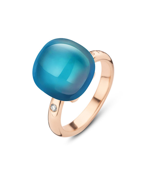 Bigli ring Mini Sweety - London blauwe topaas met parelmoer 20R122Rlobmp