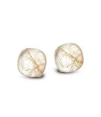 Bigli oorbellen Mini Sweety -Rutielkwarts met parelmoer 20O76Rrutmpbi