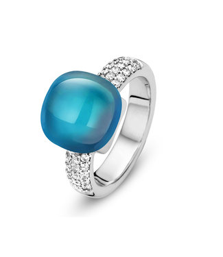 Bigli ring Mini Sweety - London blauwe Topaas met parelmoer en briljant 20R128Wlobmpdia
