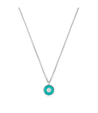 Ania Haie Bright Future - Teal Enamel Disc silver necklace silver N028-01H-T
