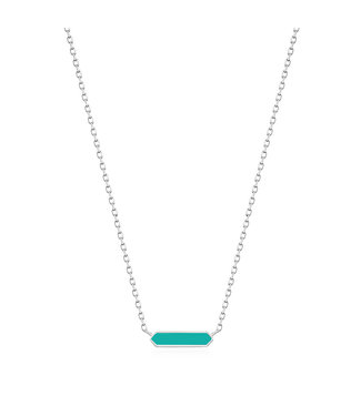 Ania Haie Bright Future - Teal Enamel Bar silver necklace silver N028-03H-T