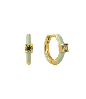 Ania Haie Bright Future - Sage Enamel Gold Huggie hoop earrings gold E028-05G-G