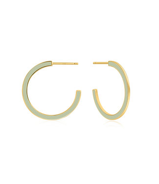 Ania Haie Bright Future - Sage Enamel gold hoop earrings gold E028-06G-G