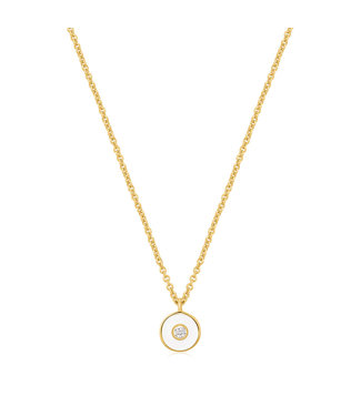 Ania Haie Bright Future - Optic White Enamel Disc gold necklace gold N028-01G-W