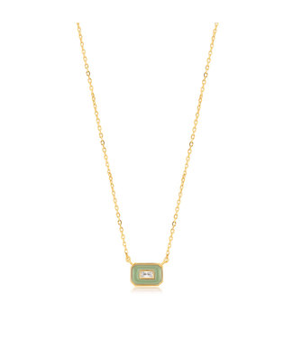Ania Haie Bright Future - Sage Enamel Emblem gold necklace gold N028-02G-G