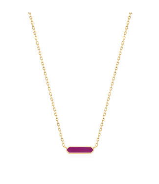 Ania Haie Bright Future - Berry Enamel Bar gold necklace gold N028-03G-R