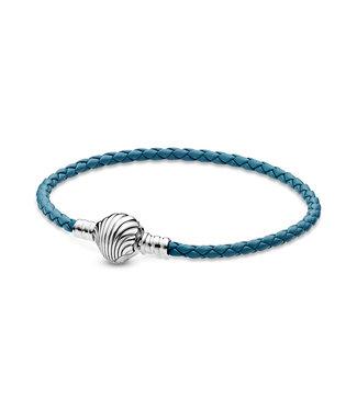 Pandora Moments Shell Clasp Braided Leather bracelet 598951C01