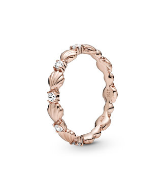 Pandora Beaded Sparkling Seashell Band stackable ring 188946C01