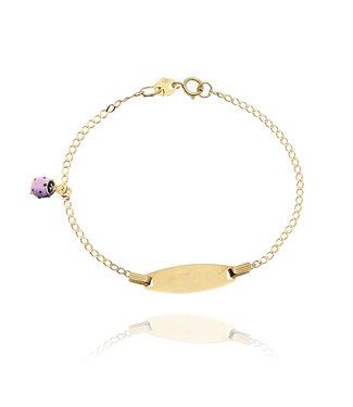 Willems Creations 18kt armband identiteit met roze lieveheersbeestje 766352