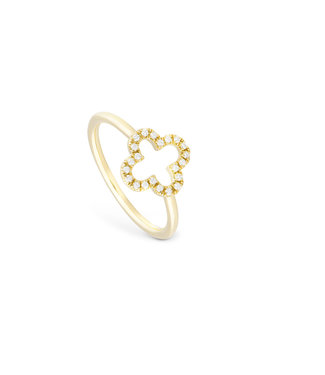 Willems Creations ring 18kt geelgoud Open Klaver R8190AB1
