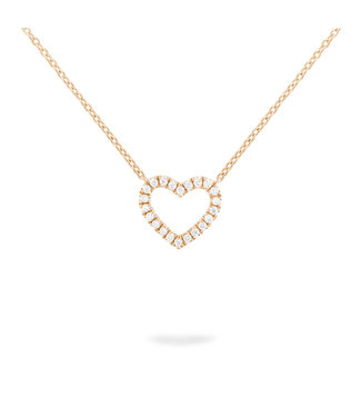 Willems Creations ketting 18kt roosgoud Open Hart R8209GB5