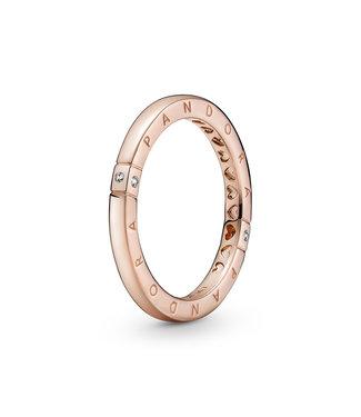 Pandora Logo & Hearts ring rose 189482C01