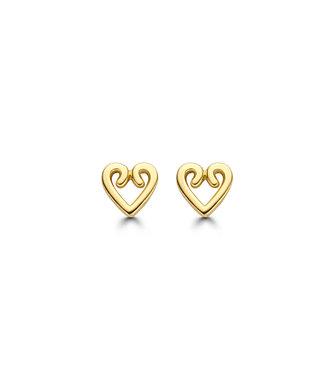 Lisamona Gold oorbellen 14kt geelgoud Hart G0253