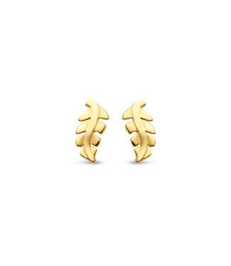 Lisamona Gold oorbellen 14kt geelgoud Blad G0257