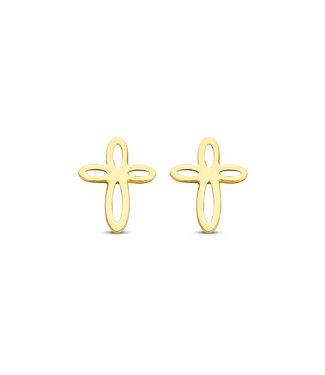Lisamona Gold oorbellen 14kt geelgoud Kruis G0260