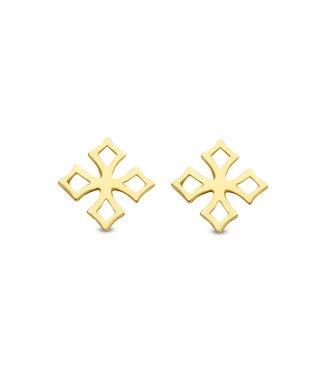 Lisamona Gold oorbellen 14kt geelgoud Kruis G0261