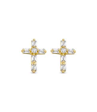Lisamona Gold oorbellen 14kt geelgoud Kruis G0274