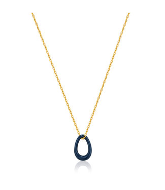 Ania Haie Bright Future - Navy Blue enamel gold twisted pendant necklace - N031-02G-B