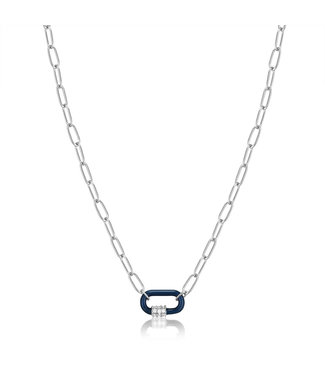 Ania Haie Bright Future - Navy Blue enamel carabiner silver necklace - N031-01H-B