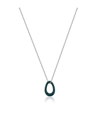 Ania Haie Bright Future - Forest Green enamel silver twisted pendant necklace - N031-02H-G
