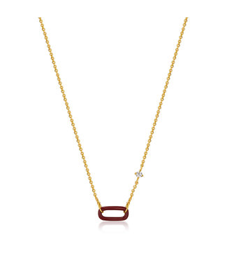 Ania Haie Bright Future - Claret red enemal gold link necklace - N031-03G-R
