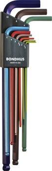 BONDHUS Bondhus Ball End L Hex Wrench Set of 9: 1.5mm - 10mm, Colourguard Finish