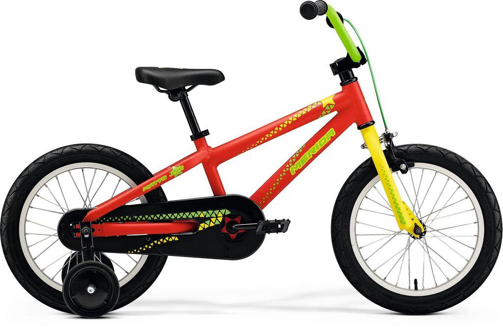 """MERIDA Merida Kids Bicycle 16"""" Matts J16, Matt Red/Yellow/Green"""